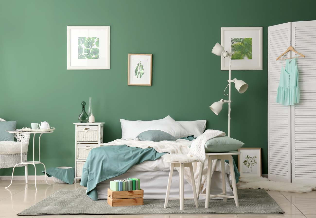 5 Inspirasi Ruangan Hijau Yang Elegan Warna cat tembok hijau