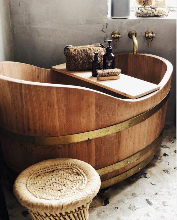 Japanese wooden soaking tub