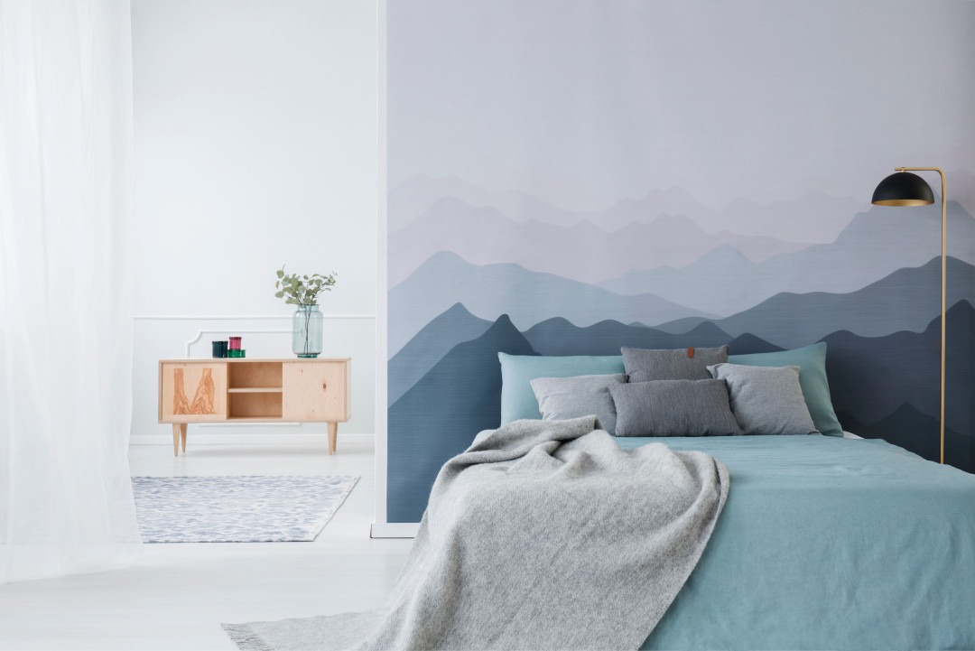 Blue Mountain Gradient bedroom wall - Shutterstock