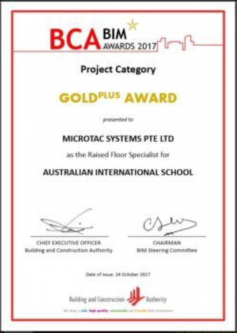 Microtac Systems receives BCA Building Information Modelling (BIM) GoldPlus Award 2017