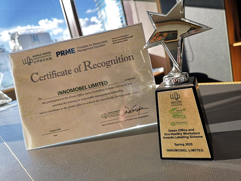 WORLD GREEN ORGANISATION - GREEN OFFICE & ECO-HEALTHY WORKPLACE AWARDS 2020